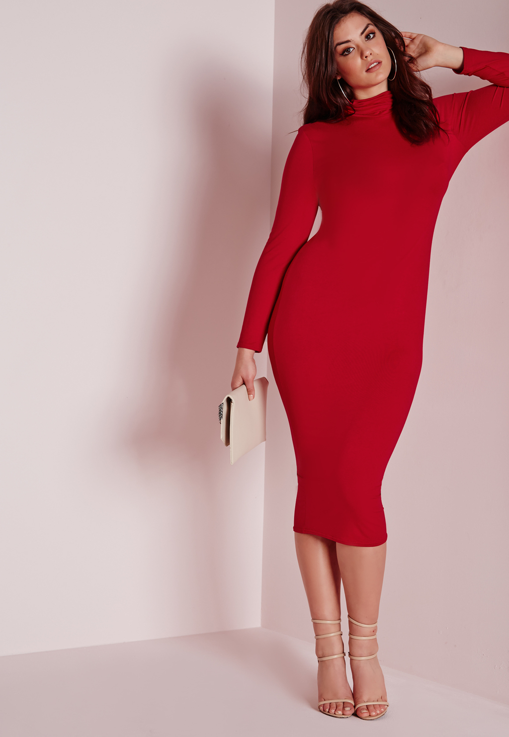 Plus Size Roll Neck Longline Jersey Dress Red, Red - length: below the knee; fit: tight; pattern: plain; neckline: high neck; style: bodycon; predominant colour: true red; occasions: evening; fibres: viscose/rayon - stretch; sleeve length: long sleeve; sleeve style: standard; pattern type: fabric; texture group: jersey - stretchy/drapey; season: s/s 2016