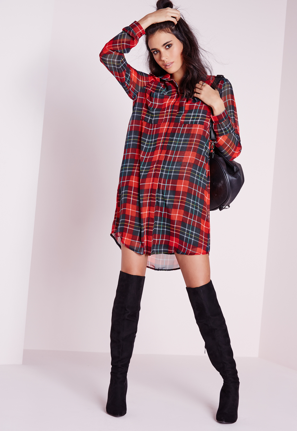 Long Sleeve Check Shirt Dress Red, Red - style: shirt; length: mid thigh; neckline: shirt collar/peter pan/zip with opening; fit: loose; pattern: checked/gingham; predominant colour: true red; secondary colour: navy; occasions: casual; fibres: polyester/polyamide - 100%; sleeve length: long sleeve; sleeve style: standard; pattern type: fabric; texture group: other - light to midweight; multicoloured: multicoloured; season: s/s 2016; wardrobe: highlight