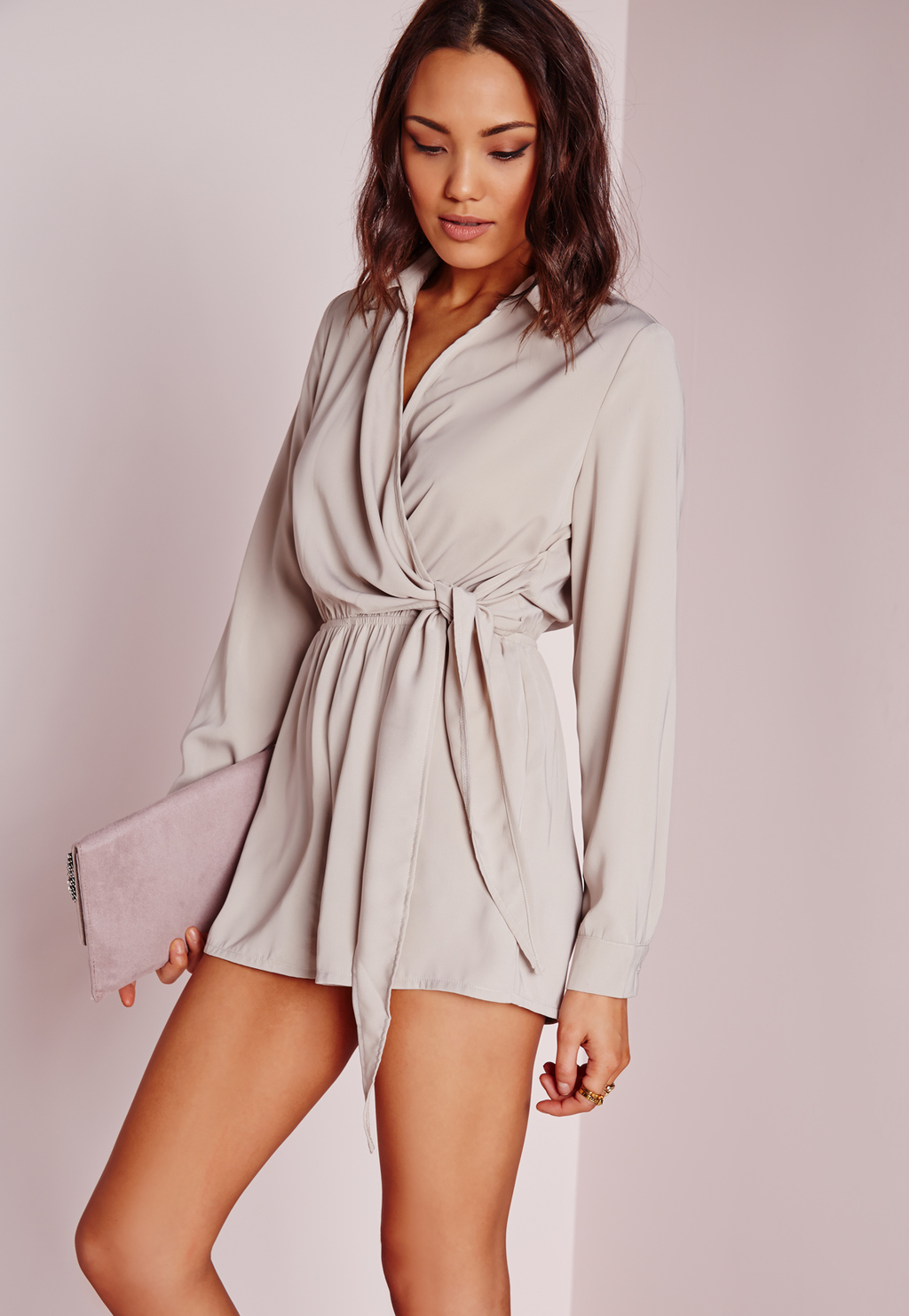 Wrap Front Shirt Playsuit Stone, Beige - neckline: v-neck; pattern: plain; waist detail: belted waist/tie at waist/drawstring; length: short shorts; predominant colour: stone; occasions: casual; fit: body skimming; fibres: polyester/polyamide - 100%; sleeve length: long sleeve; sleeve style: standard; style: playsuit; pattern type: fabric; texture group: other - light to midweight; season: s/s 2016; wardrobe: highlight