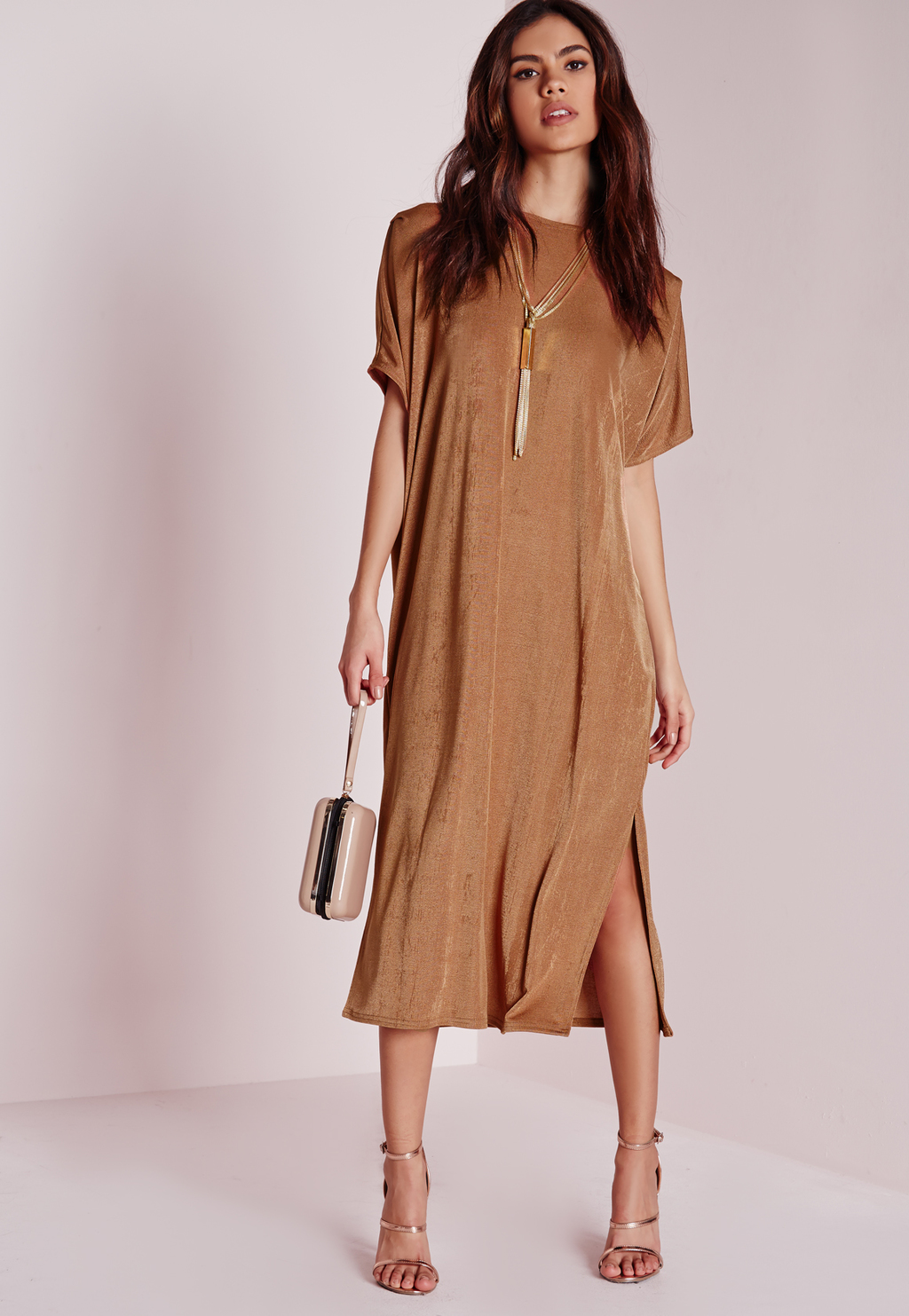 Oversized Midi T Shirt Dress Bronze, Bronze - style: t-shirt; length: below the knee; pattern: plain; predominant colour: bronze; occasions: evening; fit: body skimming; fibres: polyester/polyamide - stretch; neckline: crew; hip detail: slits at hip; sleeve length: short sleeve; sleeve style: standard; pattern type: fabric; texture group: jersey - stretchy/drapey; season: s/s 2016