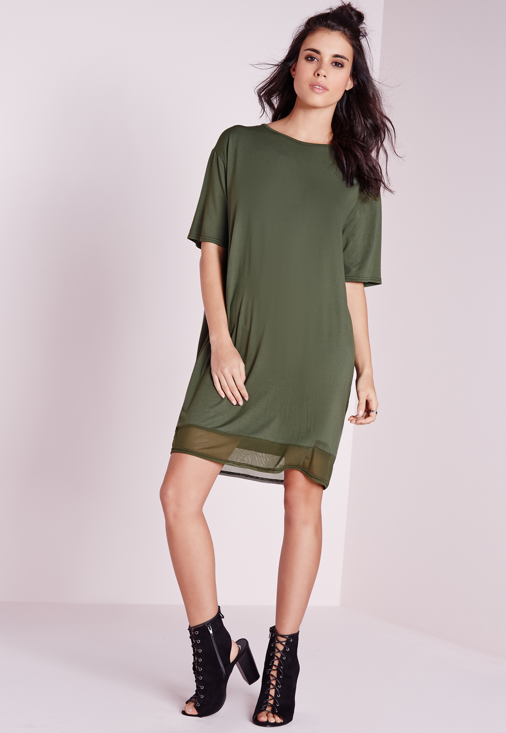 Cut Out Back T Shirt Dress Khaki, Beige - style: shift; pattern: plain; secondary colour: dark green; predominant colour: khaki; occasions: casual; length: just above the knee; fit: body skimming; fibres: viscose/rayon - 100%; neckline: crew; sleeve length: half sleeve; sleeve style: standard; texture group: crepes; pattern type: fabric; season: s/s 2016; wardrobe: highlight
