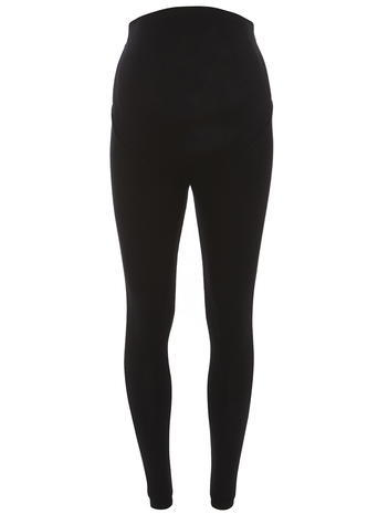 Womens **Maternity Black Overbump Leggings Black - length: standard; pattern: plain; style: leggings; waist detail: elasticated waist; waist: mid/regular rise; predominant colour: black; occasions: casual; fibres: viscose/rayon - stretch; texture group: jersey - clingy; fit: skinny/tight leg; pattern type: fabric; season: s/s 2016; wardrobe: basic