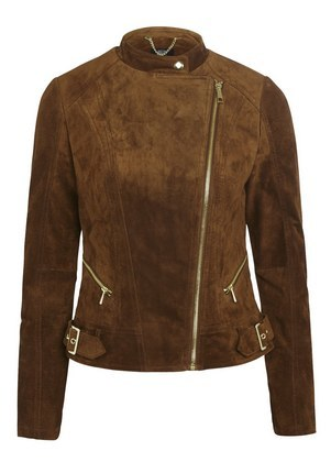 Signature Suede Biker Jacket In Tan Size - pattern: plain; style: biker; collar: standard biker; fit: slim fit; predominant colour: tan; occasions: casual, creative work; length: standard; fibres: leather - 100%; sleeve length: long sleeve; sleeve style: standard; collar break: high/illusion of break when open; pattern type: fabric; texture group: suede; season: s/s 2016; wardrobe: highlight