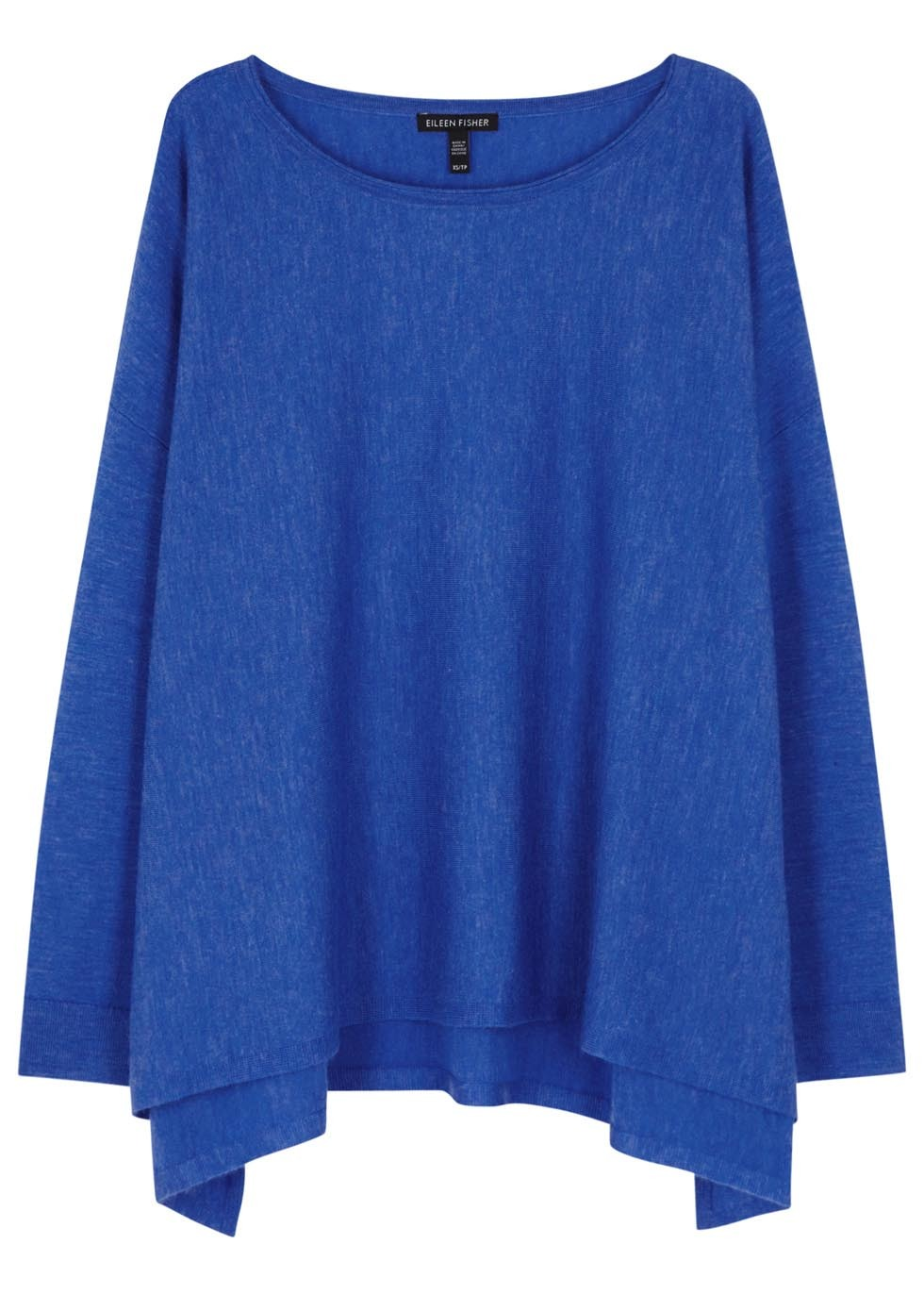Blue Draped Cashmere Jumper - neckline: round neck; pattern: plain; style: standard; predominant colour: royal blue; occasions: casual; length: standard; fit: loose; fibres: cashmere - 100%; sleeve length: long sleeve; sleeve style: standard; texture group: knits/crochet; pattern type: fabric; season: s/s 2016