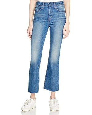Crop Kick Flare Jeans In Indigo Junkie - style: flares; pattern: plain; waist: high rise; pocket detail: traditional 5 pocket; predominant colour: denim; occasions: casual; length: ankle length; fibres: cotton - stretch; jeans detail: shading down centre of thigh; texture group: denim; pattern type: fabric; season: s/s 2016