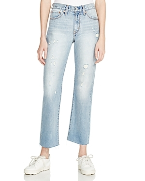 Crop Kick Flare Jeans In Light Blue - style: straight leg; pattern: plain; pocket detail: traditional 5 pocket; waist: mid/regular rise; predominant colour: pale blue; occasions: casual; length: ankle length; fibres: cotton - stretch; texture group: denim; pattern type: fabric; jeans detail: rips; season: s/s 2016