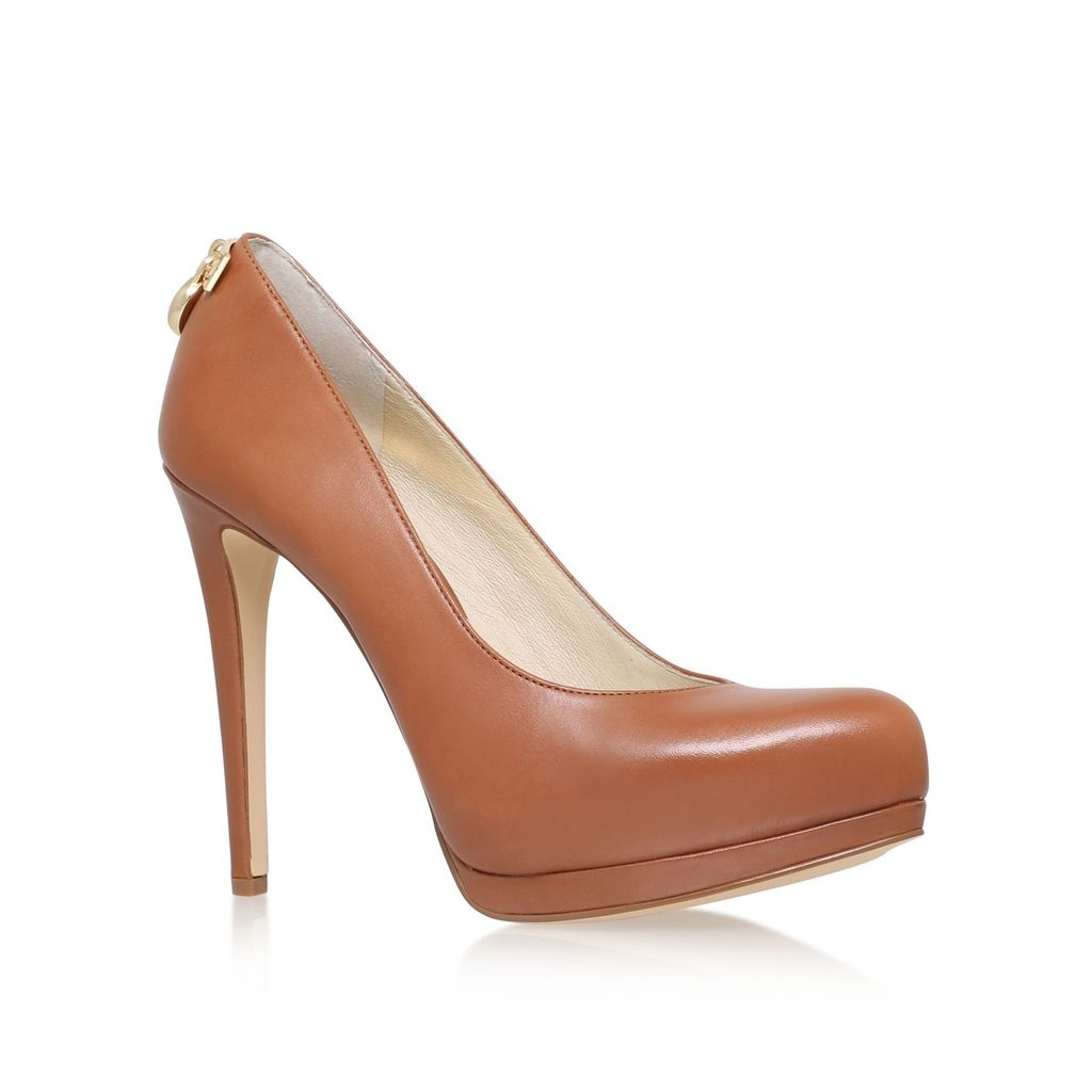 Hamilton High Heeled Court Shoes, Tan - predominant colour: tan; occasions: evening, work, occasion; material: leather; heel height: high; heel: stiletto; toe: pointed toe; style: courts; finish: plain; pattern: plain; embellishment: chain/metal; shoe detail: platform; season: s/s 2016; wardrobe: highlight