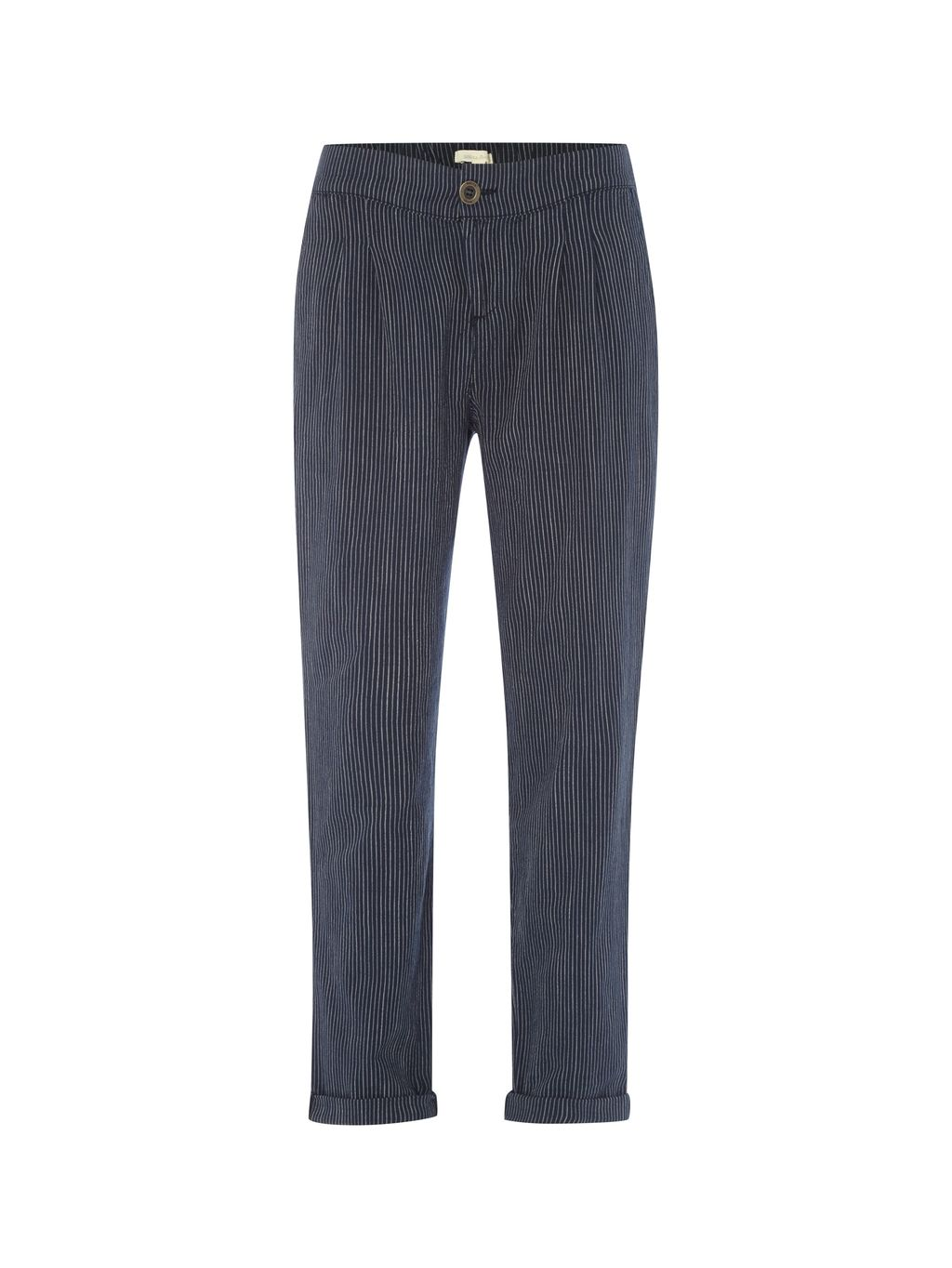 Slouchy Stripe Trouser, Navy - length: standard; pattern: striped; waist: mid/regular rise; predominant colour: navy; occasions: casual, creative work; fibres: cotton - 100%; fit: straight leg; pattern type: fabric; texture group: other - light to midweight; style: standard; pattern size: standard (bottom); season: s/s 2016; wardrobe: highlight