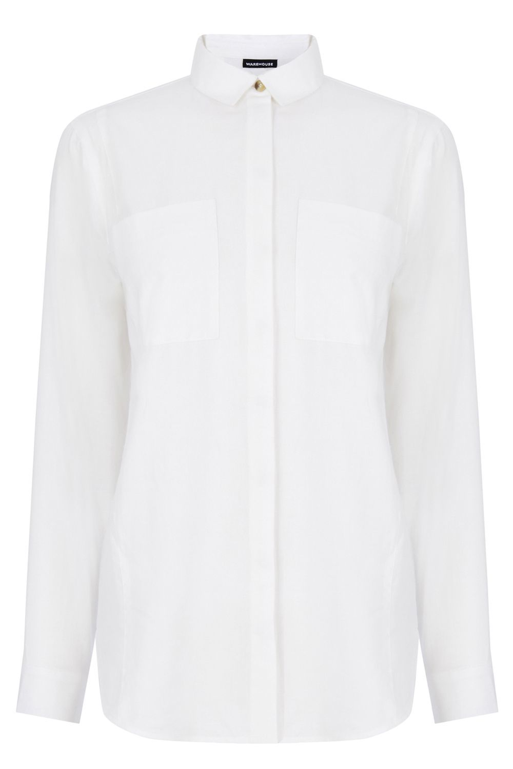 Relaxed Curved Hem Shirt, White - neckline: shirt collar/peter pan/zip with opening; pattern: plain; style: shirt; predominant colour: white; occasions: casual; length: standard; fibres: cotton - 100%; fit: body skimming; sleeve length: long sleeve; sleeve style: standard; texture group: crepes; bust detail: bulky details at bust; pattern type: fabric; season: s/s 2016; wardrobe: basic