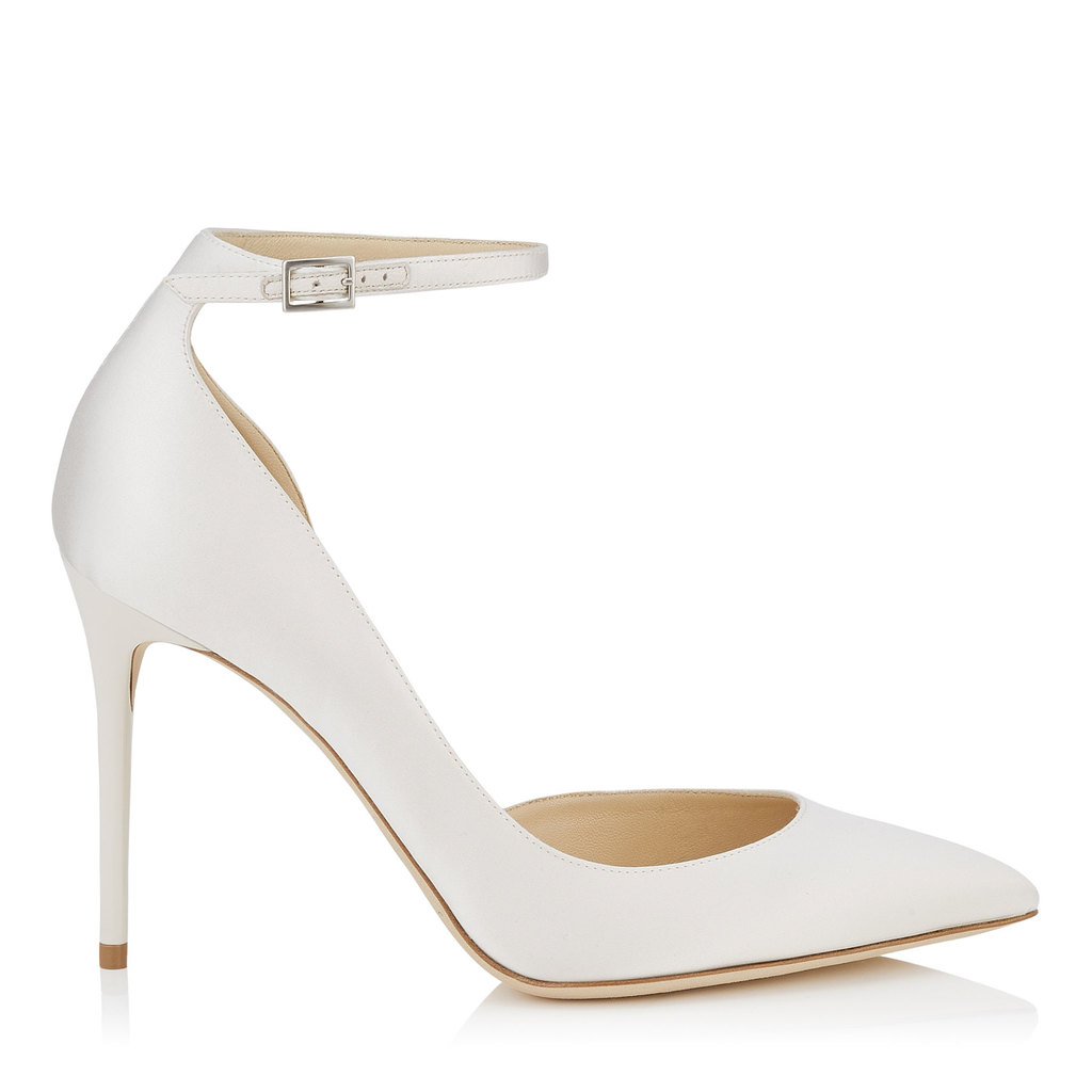 Lucy 100 Ivory Satin Pointy Toe Pumps - predominant colour: ivory/cream; occasions: evening, occasion; material: satin; heel height: high; ankle detail: ankle strap; heel: stiletto; toe: pointed toe; style: courts; finish: plain; pattern: plain; season: s/s 2016