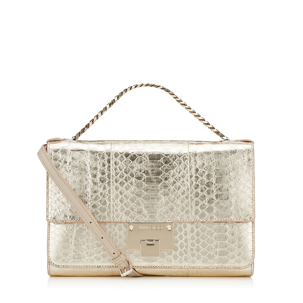 Rebel Soft/S Light Gold Shoulder Bag - predominant colour: gold; type of pattern: standard; style: shoulder; length: across body/long; size: standard; material: leather; pattern: animal print; finish: metallic; occasions: creative work; season: s/s 2016; wardrobe: highlight