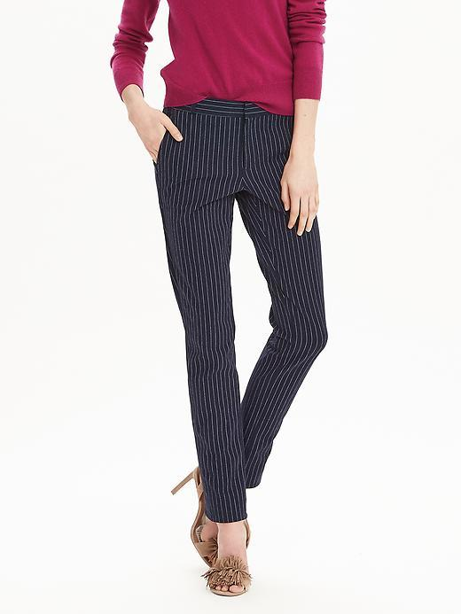 Ryan Fit Pinstripe Slim Straight Pant Navy Combo - length: standard; pattern: plain; waist: mid/regular rise; secondary colour: white; predominant colour: navy; fibres: cotton - 100%; texture group: cotton feel fabrics; fit: slim leg; pattern type: fabric; style: standard; occasions: creative work; pattern size: light/subtle (bottom); season: s/s 2016; wardrobe: basic