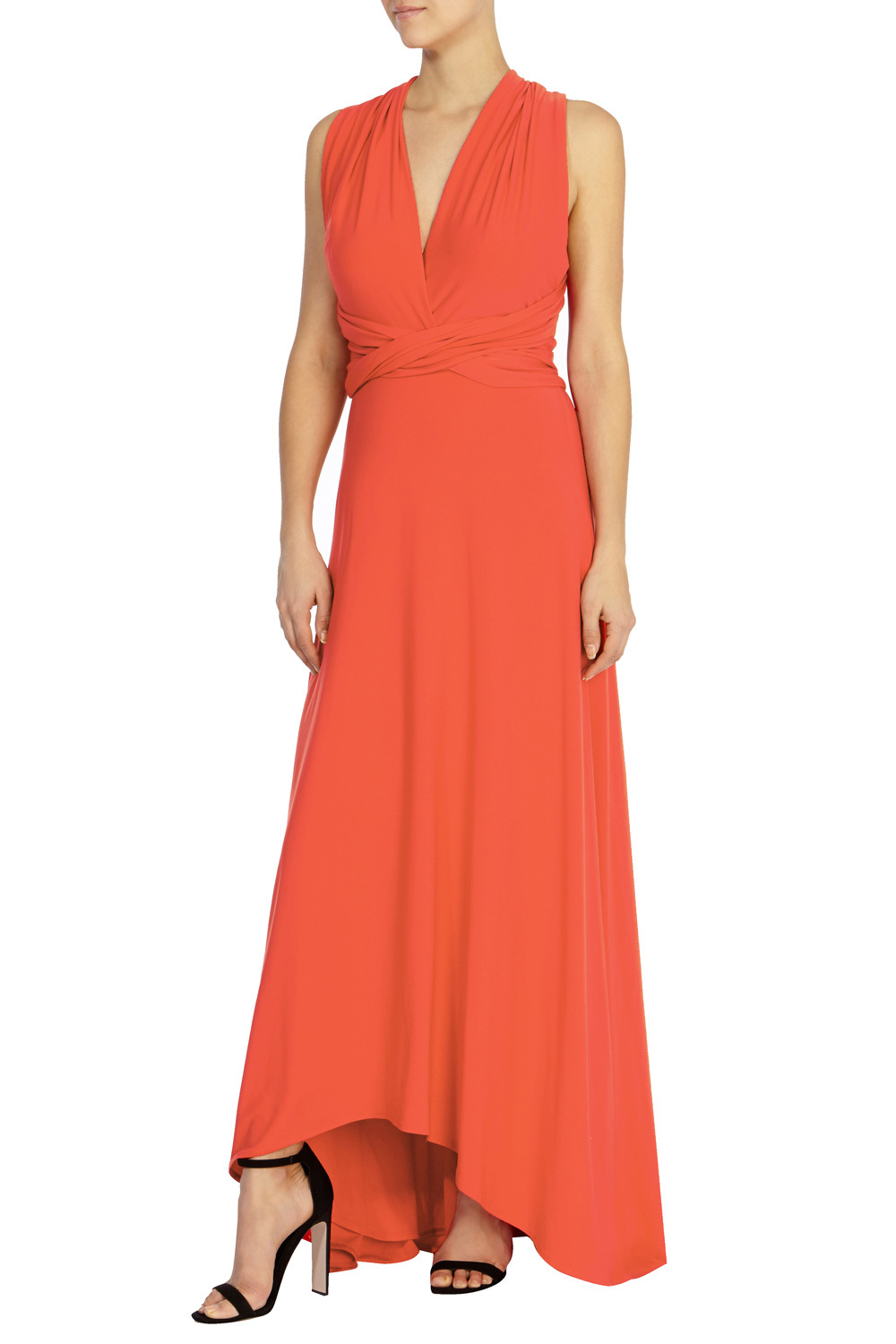 Corwin Hi Low Maxi Dress - neckline: v-neck; pattern: plain; sleeve style: sleeveless; length: ankle length; predominant colour: bright orange; occasions: evening; fit: body skimming; style: asymmetric (hem); fibres: polyester/polyamide - stretch; sleeve length: sleeveless; pattern type: fabric; texture group: jersey - stretchy/drapey; season: s/s 2016; wardrobe: event