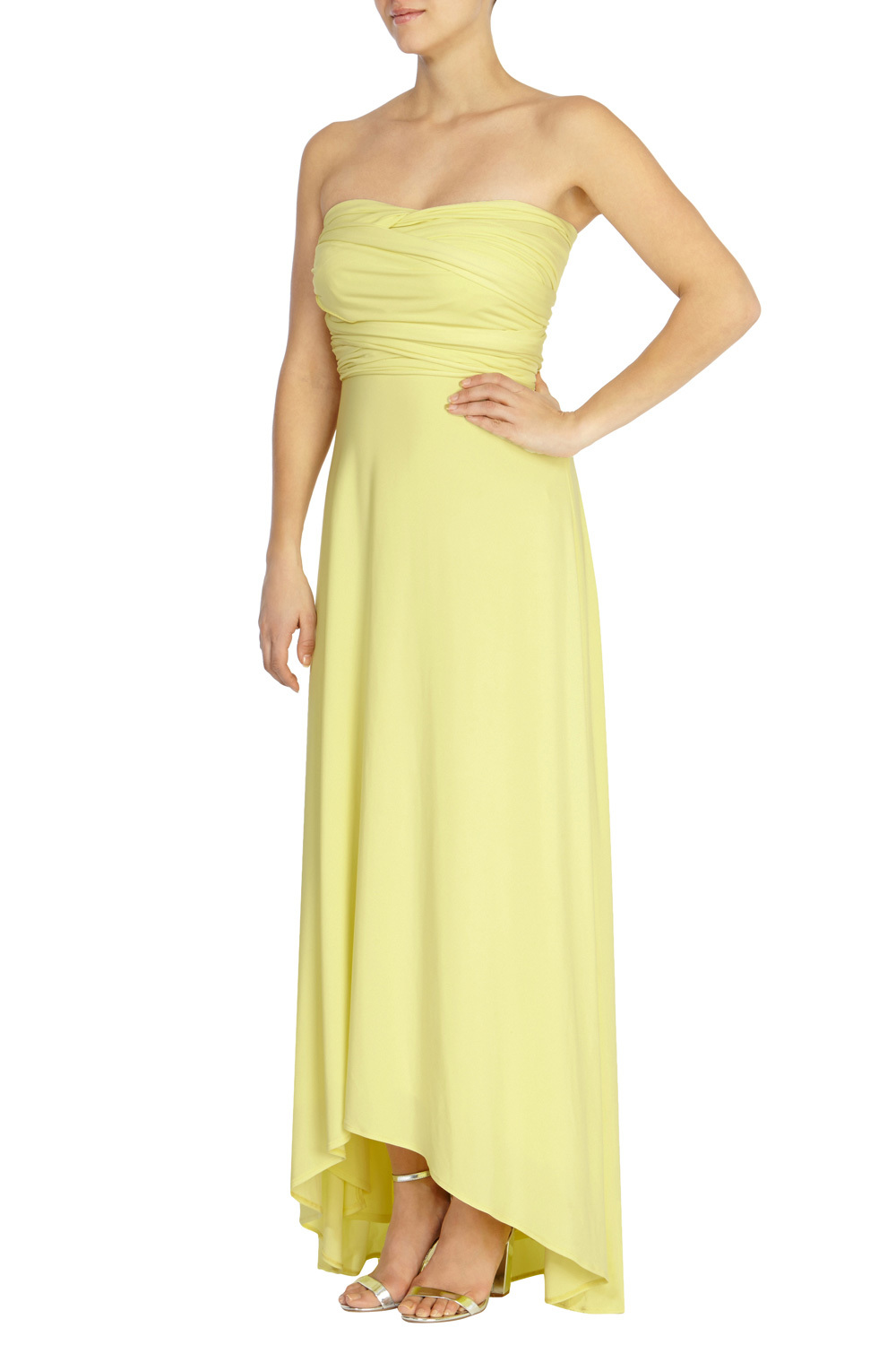 Corwin Hi Low Maxi Dress - neckline: strapless (straight/sweetheart); pattern: plain; style: maxi dress; sleeve style: strapless; bust detail: subtle bust detail; predominant colour: primrose yellow; occasions: evening; length: floor length; fit: body skimming; fibres: polyester/polyamide - 100%; sleeve length: sleeveless; pattern type: fabric; texture group: jersey - stretchy/drapey; season: s/s 2016; wardrobe: event