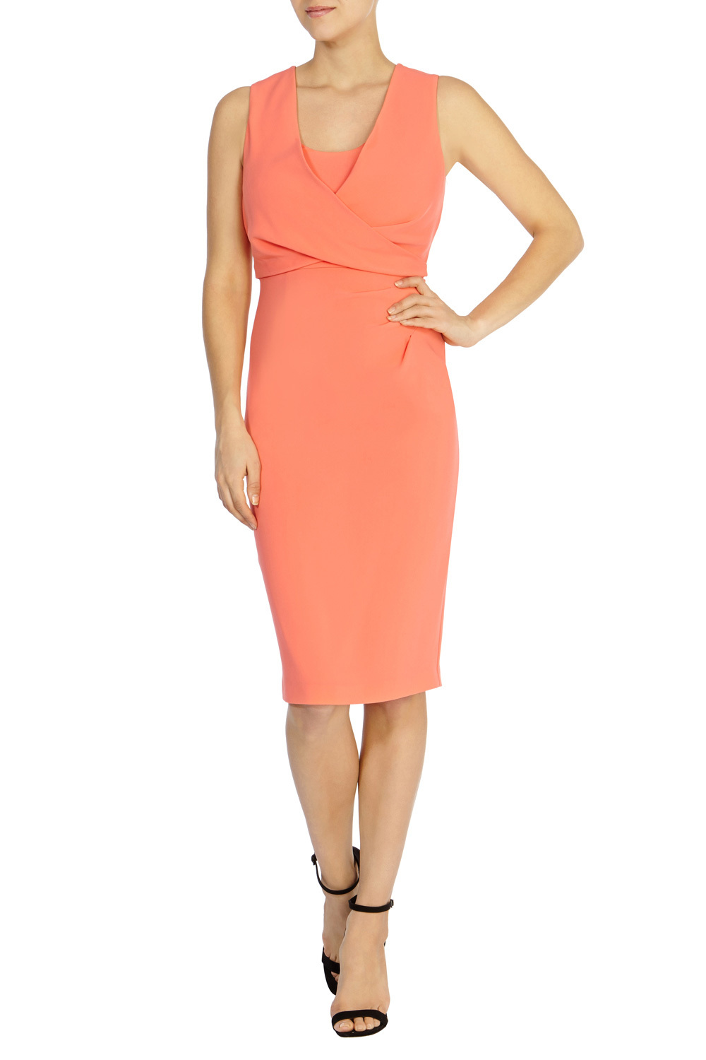Claudette Crepe Dress - style: shift; neckline: v-neck; fit: tailored/fitted; pattern: plain; sleeve style: sleeveless; waist detail: twist front waist detail/nipped in at waist on one side/soft pleats/draping/ruching/gathering waist detail; predominant colour: bright orange; length: on the knee; occasions: occasion; sleeve length: sleeveless; pattern type: fabric; texture group: other - light to midweight; fibres: viscose/rayon - mix; season: s/s 2016; wardrobe: event