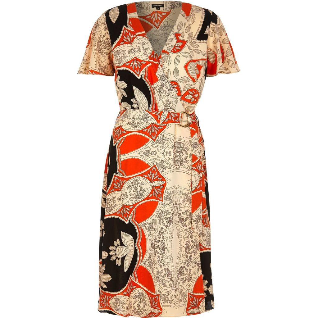 Womens Orange Floral Print D Ring Midi Dress - style: faux wrap/wrap; neckline: v-neck; secondary colour: bright orange; predominant colour: stone; occasions: evening; length: on the knee; fit: body skimming; fibres: polyester/polyamide - 100%; sleeve length: short sleeve; sleeve style: standard; texture group: crepes; pattern type: fabric; pattern: florals; multicoloured: multicoloured; season: s/s 2016
