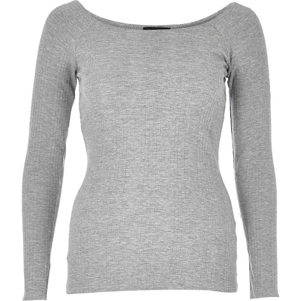 Womens Grey '90s Super Scoop Long Sleeve Top - neckline: round neck; pattern: plain; predominant colour: light grey; occasions: casual; length: standard; style: top; fibres: cotton - stretch; fit: body skimming; sleeve length: long sleeve; sleeve style: standard; pattern type: fabric; texture group: jersey - stretchy/drapey; season: s/s 2016; wardrobe: basic