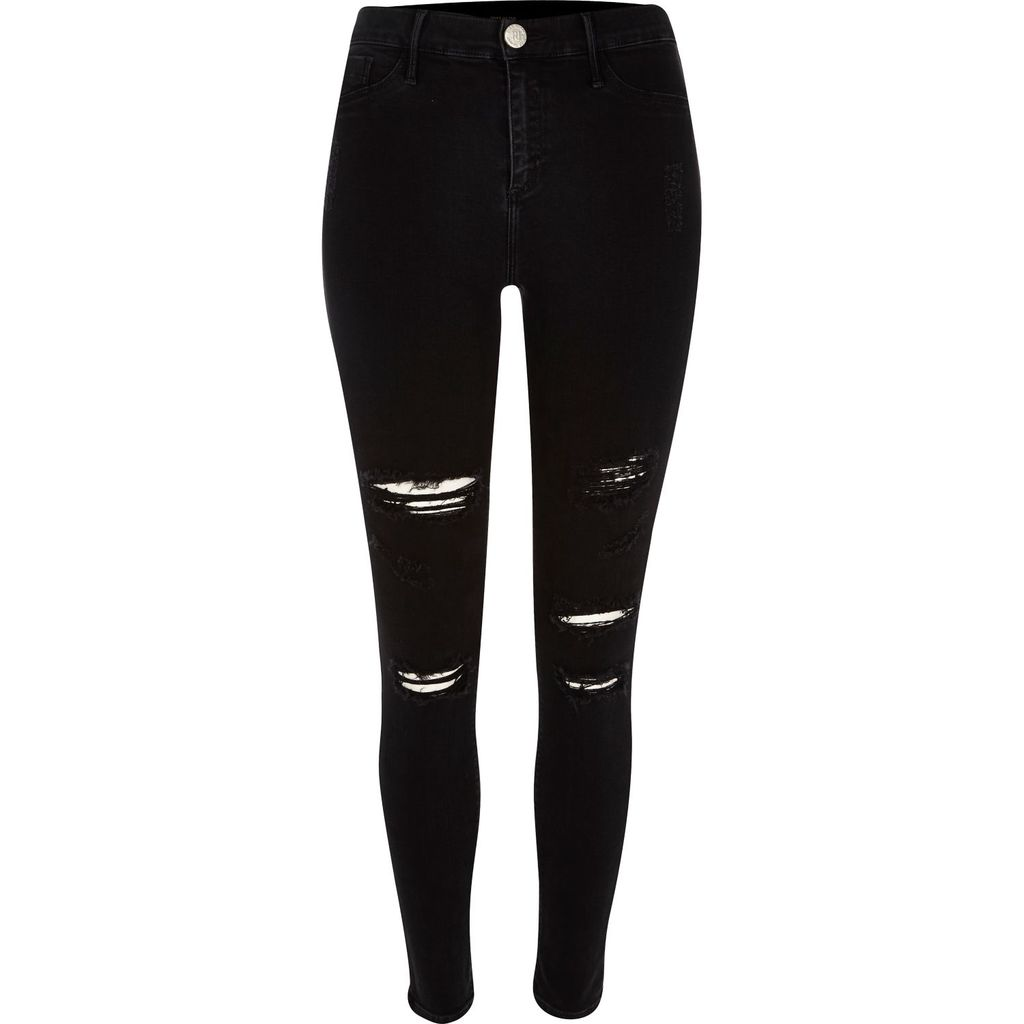 Womens Black Super Ripped Molly Jeggings - length: standard; pattern: plain; style: jeggings; pocket detail: traditional 5 pocket; waist: mid/regular rise; predominant colour: black; occasions: casual; fibres: cotton - stretch; texture group: denim; pattern type: fabric; jeans detail: rips; season: s/s 2016