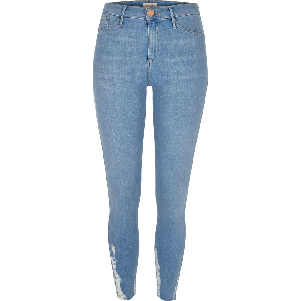 Womens Light Blue Wash Chewed Hem Molly Jeggings - length: standard; pattern: plain; waist: high rise; style: jeggings; predominant colour: denim; occasions: casual; fibres: cotton - stretch; jeans detail: whiskering; texture group: denim; pattern type: fabric; season: s/s 2016; wardrobe: basic