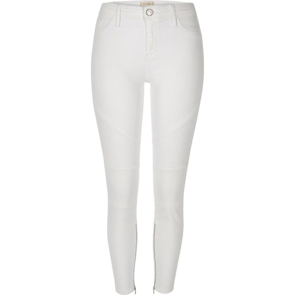 Womens White Amelie Super Skinny Biker Jeans - style: skinny leg; length: standard; pattern: plain; waist: high rise; pocket detail: traditional 5 pocket; predominant colour: white; occasions: casual; fibres: cotton - stretch; texture group: denim; pattern type: fabric; season: s/s 2016; wardrobe: highlight