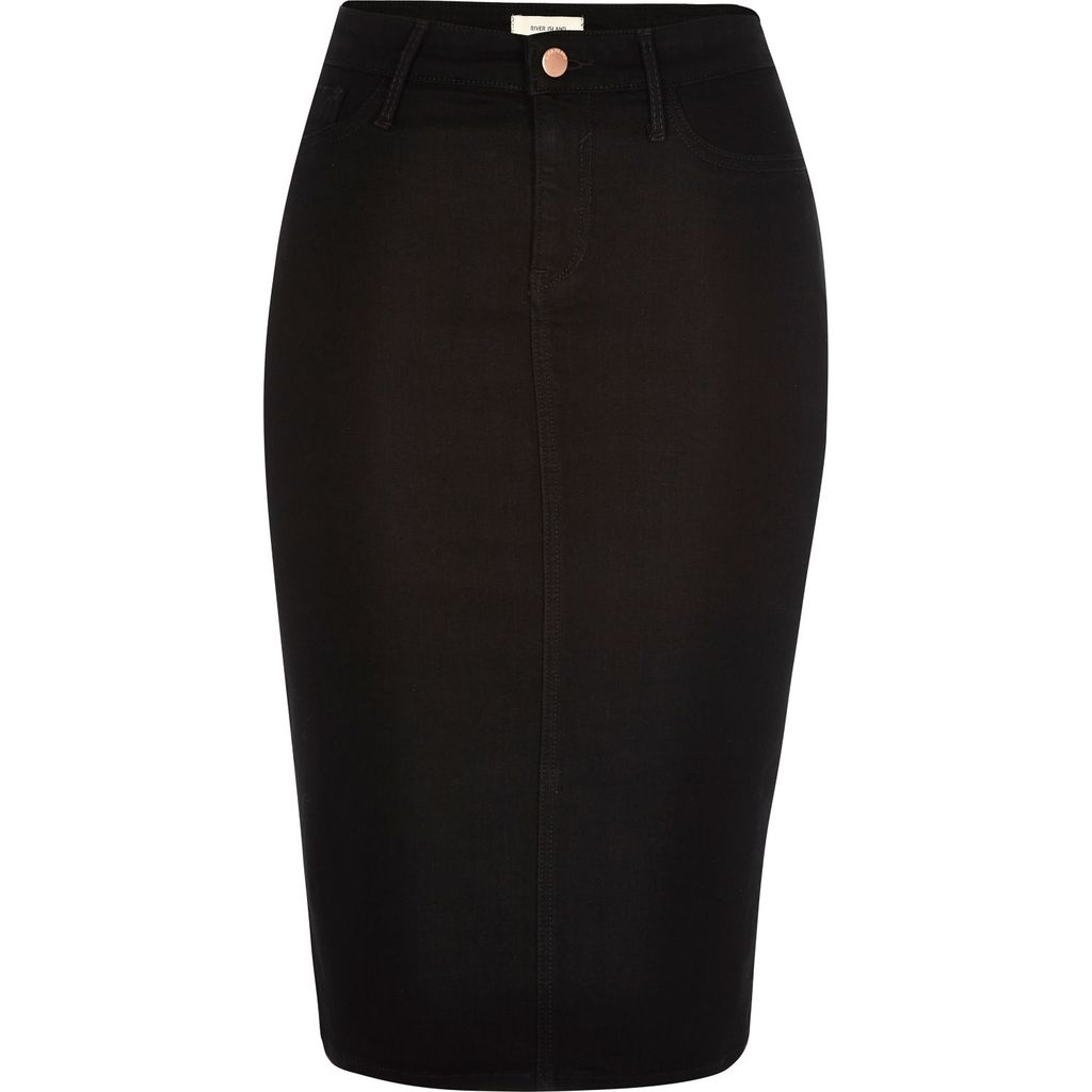 Womens Black Denim Pencil Skirt - length: below the knee; pattern: plain; style: pencil; fit: tailored/fitted; waist: high rise; predominant colour: black; occasions: work; fibres: cotton - stretch; texture group: denim; pattern type: fabric; season: s/s 2016; wardrobe: basic