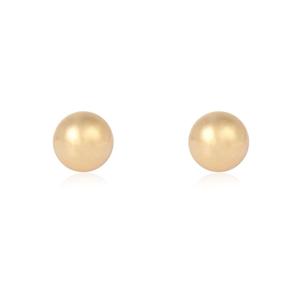 Womens Yellow Shiny Stud Earrings - predominant colour: yellow; occasions: evening, work, occasion; style: stud; length: short; size: small/fine; material: chain/metal; fastening: pierced; finish: metallic; embellishment: pearls; season: s/s 2016; wardrobe: highlight