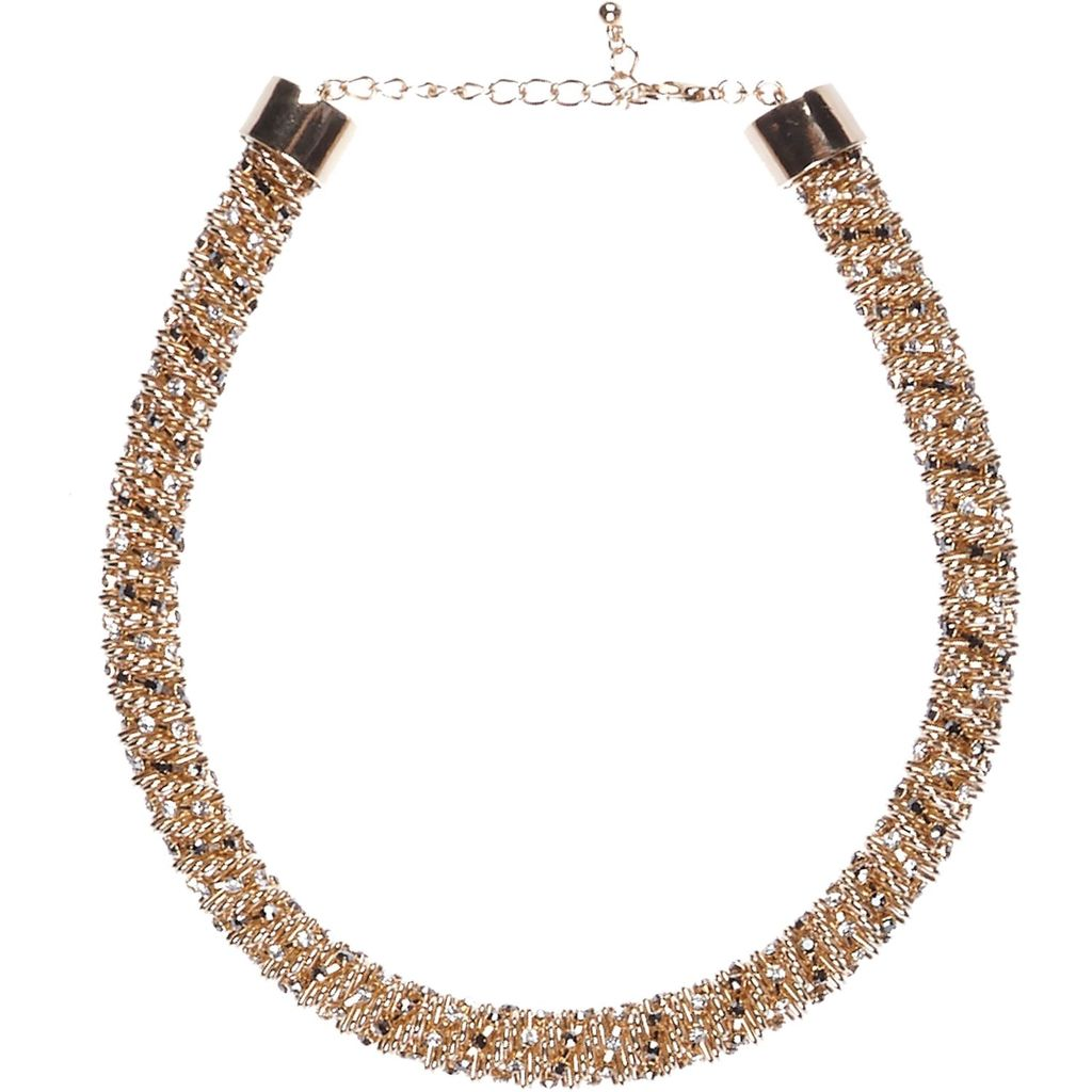 Womens Gold Tone Twisted Embellished Rope Necklace - predominant colour: gold; occasions: evening, occasion; length: short; size: standard; material: chain/metal; finish: metallic; season: s/s 2016; style: bead; wardrobe: event