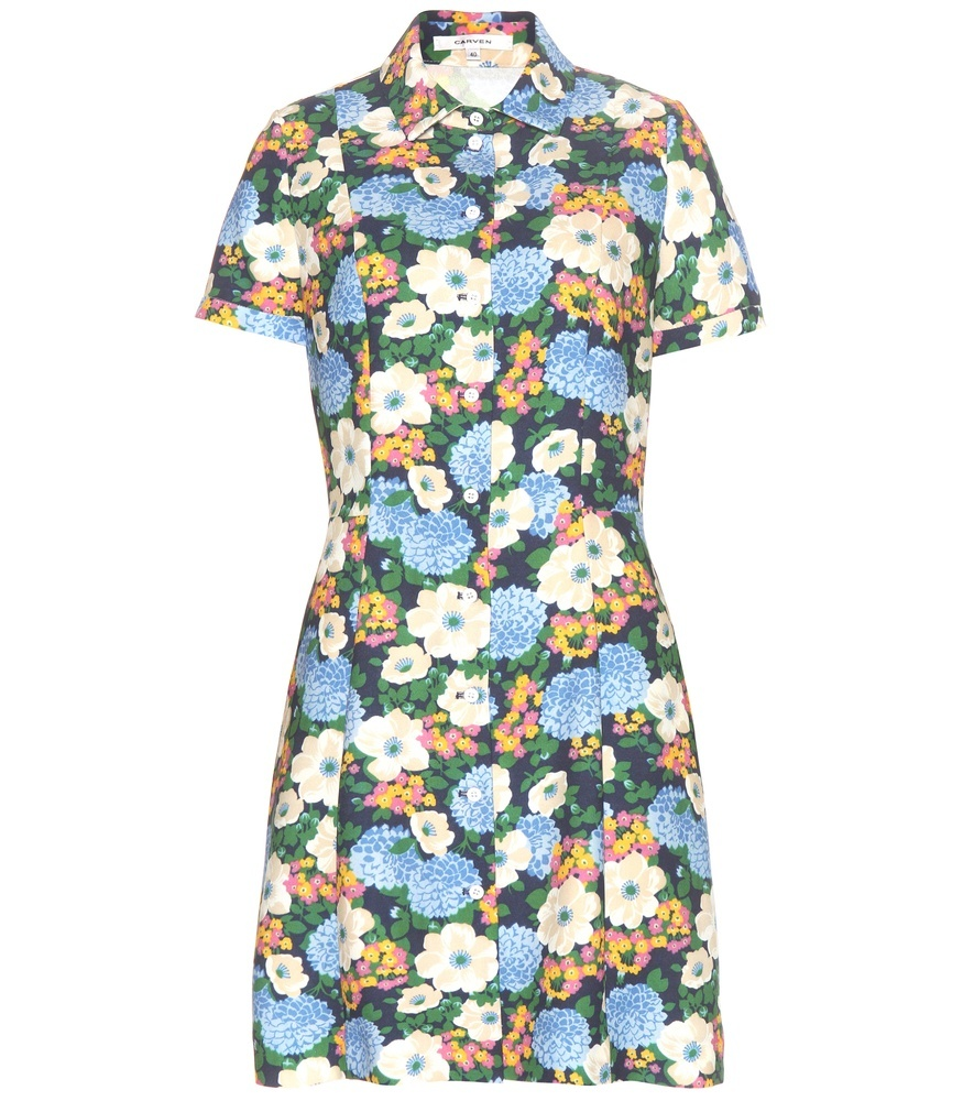 Printed Crêpe Dress - neckline: shirt collar/peter pan/zip with opening; secondary colour: pale blue; predominant colour: dark green; occasions: casual; length: just above the knee; fit: fitted at waist & bust; style: fit & flare; fibres: polyester/polyamide - 100%; sleeve length: short sleeve; sleeve style: standard; texture group: crepes; pattern type: fabric; pattern: florals; multicoloured: multicoloured; season: s/s 2016