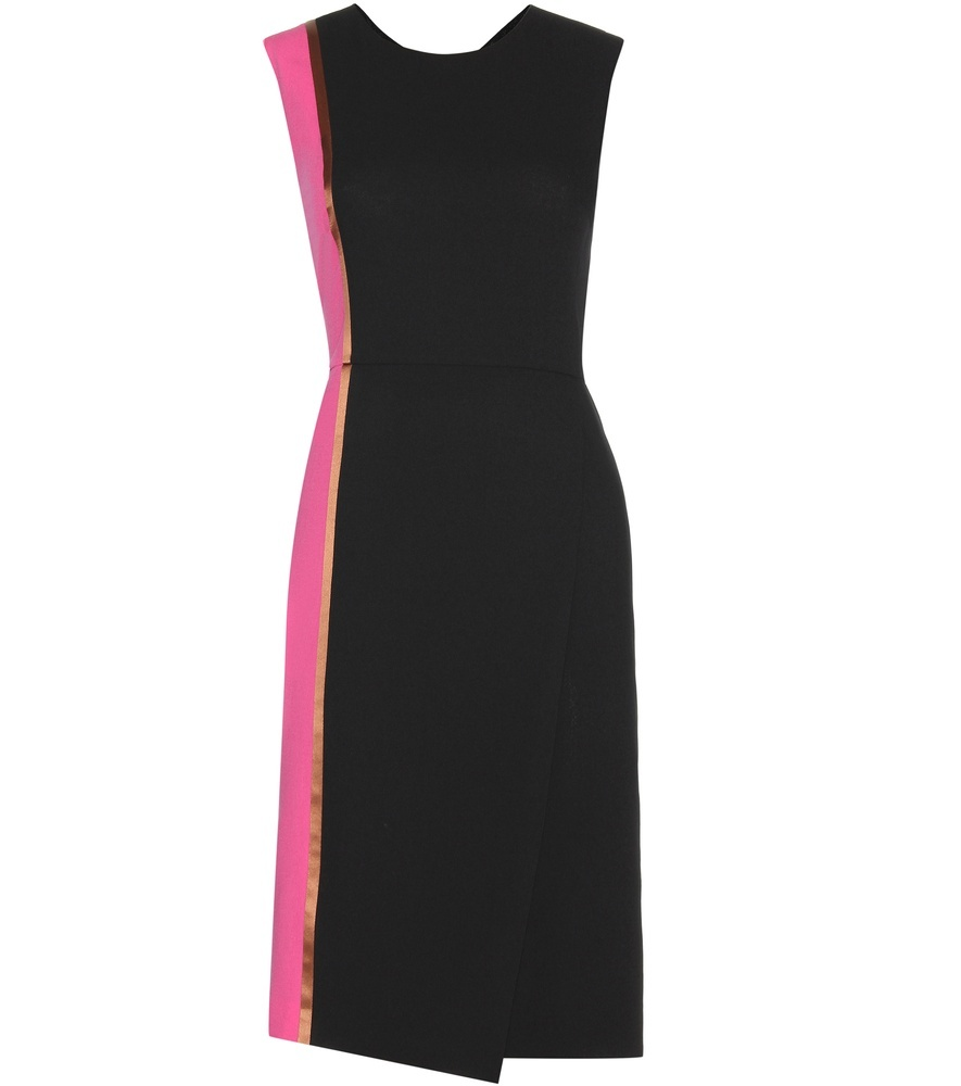 Wool Dress - style: shift; pattern: plain; sleeve style: sleeveless; secondary colour: hot pink; predominant colour: black; occasions: evening; length: on the knee; fit: body skimming; fibres: wool - 100%; neckline: crew; sleeve length: sleeveless; pattern type: fabric; texture group: woven light midweight; multicoloured: multicoloured; season: s/s 2016; wardrobe: event