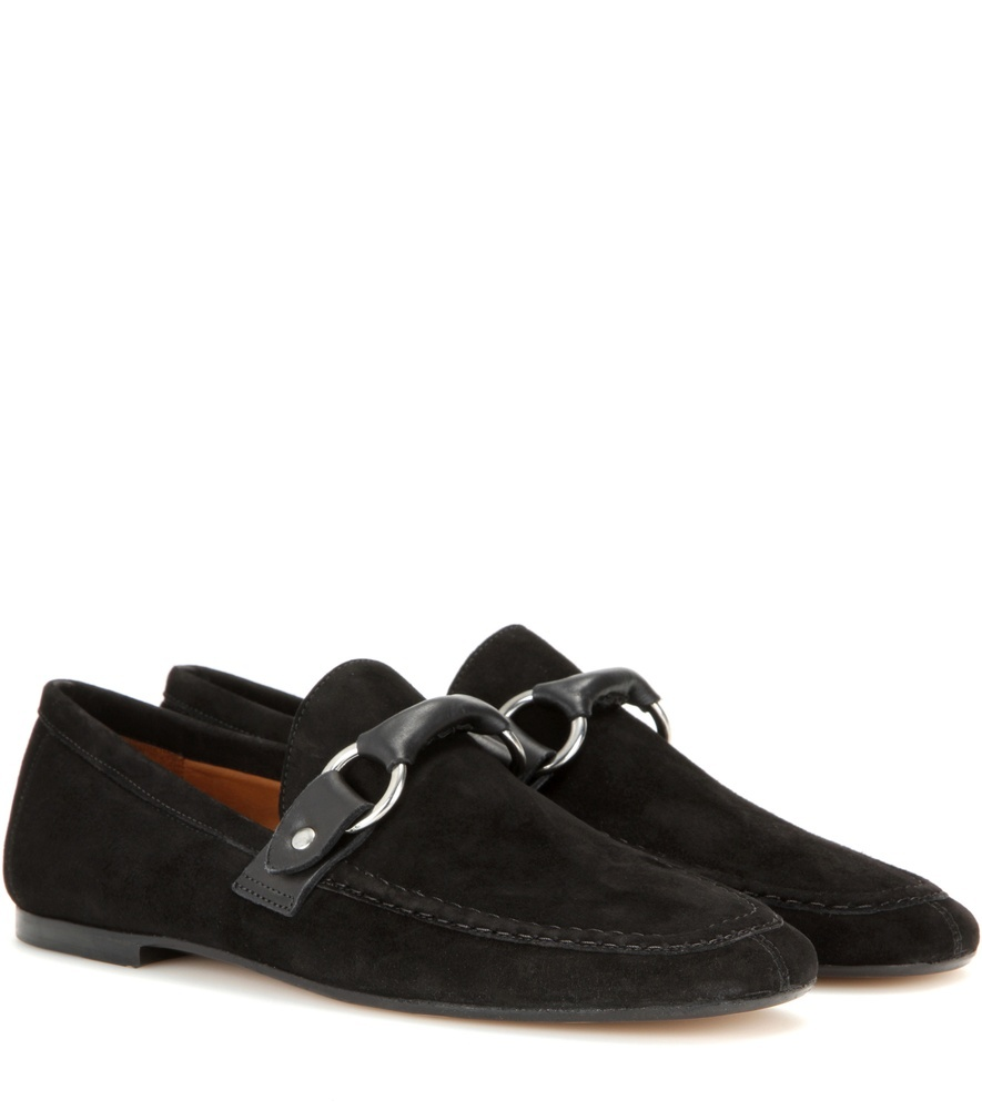 Farlow Suede Slippers - predominant colour: black; occasions: casual, creative work; material: suede; heel height: flat; embellishment: snaffles; toe: round toe; style: loafers; finish: plain; pattern: plain; season: s/s 2016