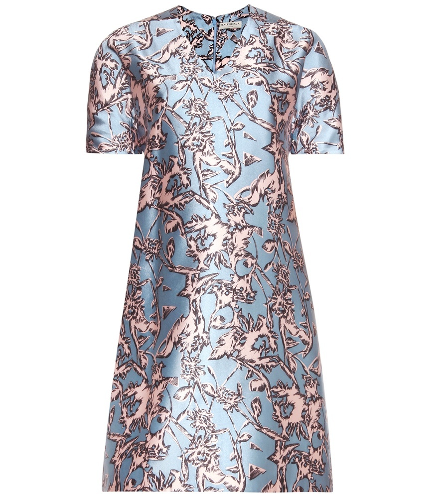Printed Silk Blend Dress - style: shift; length: mid thigh; neckline: v-neck; secondary colour: blush; predominant colour: pale blue; occasions: evening, occasion; fit: soft a-line; fibres: silk - mix; sleeve length: short sleeve; sleeve style: standard; texture group: structured shiny - satin/tafetta/silk etc.; pattern type: fabric; pattern size: standard; pattern: patterned/print; season: s/s 2016; wardrobe: event