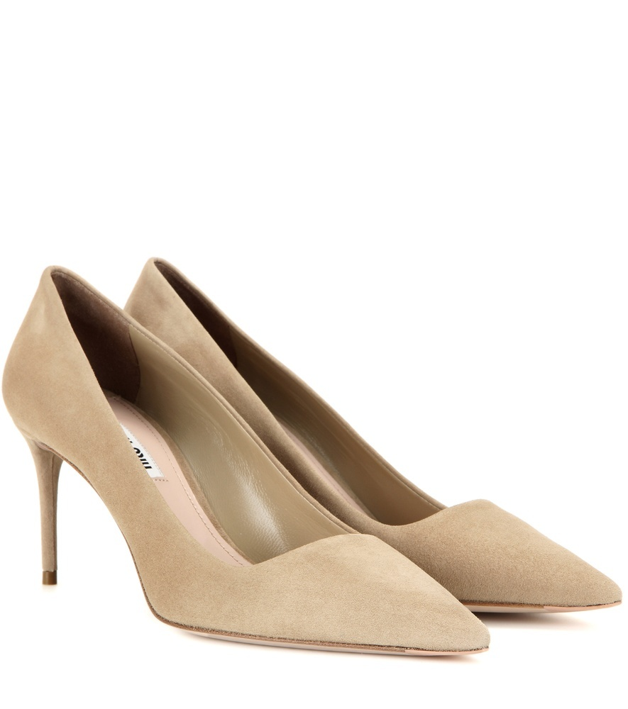 Suede Pumps - predominant colour: stone; material: suede; heel height: high; heel: stiletto; toe: pointed toe; style: courts; finish: plain; pattern: plain; occasions: creative work; season: s/s 2016; wardrobe: investment