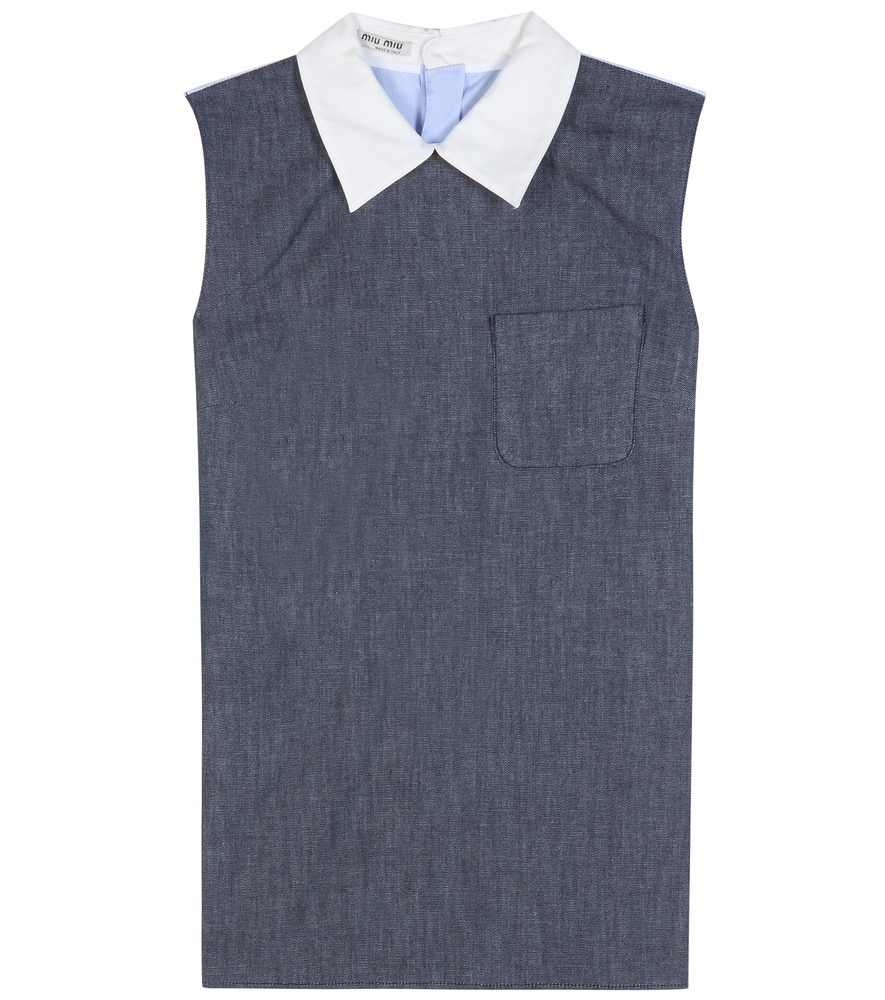 Denim And Cotton Top - pattern: plain; sleeve style: sleeveless; predominant colour: denim; occasions: casual, creative work; length: standard; style: top; fibres: cotton - 100%; fit: straight cut; neckline: no opening/shirt collar/peter pan; sleeve length: sleeveless; texture group: denim; pattern type: fabric; season: s/s 2016; wardrobe: basic