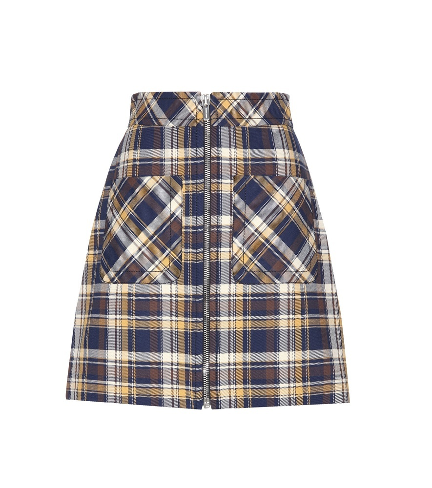 Check Cotton Miniskirt - length: mini; pattern: checked/gingham; fit: loose/voluminous; waist detail: wide waistband/cummerbund; waist: high rise; hip detail: fitted at hip; predominant colour: navy; occasions: casual, creative work; style: a-line; fibres: cotton - 100%; texture group: cotton feel fabrics; pattern type: fabric; pattern size: big & busy (bottom); season: s/s 2016; wardrobe: highlight