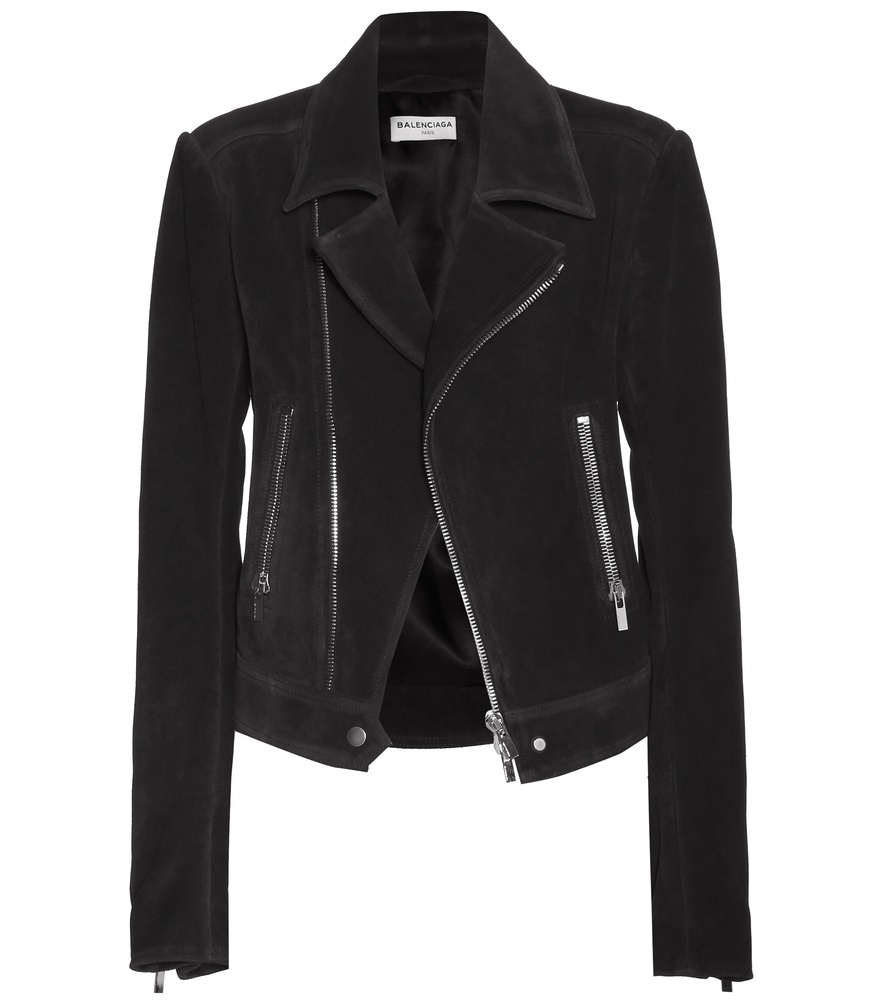 Suede Biker Jacket - pattern: plain; style: biker; collar: asymmetric biker; fit: slim fit; predominant colour: black; occasions: casual, creative work; length: standard; fibres: leather - 100%; sleeve length: long sleeve; sleeve style: standard; collar break: medium; pattern type: fabric; texture group: suede; season: s/s 2016; wardrobe: basic