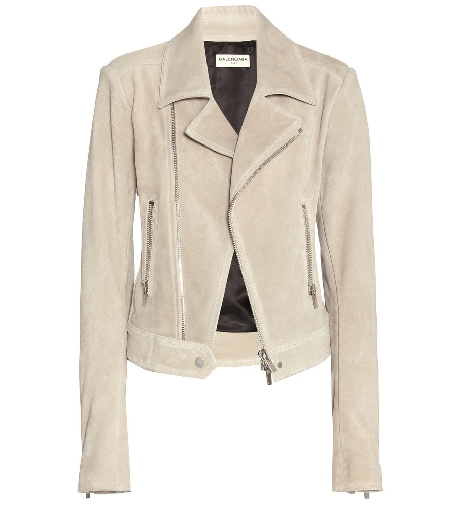 Suede Biker Jacket - pattern: plain; style: biker; collar: asymmetric biker; predominant colour: stone; occasions: casual, evening, creative work; length: standard; fit: tailored/fitted; fibres: leather - 100%; sleeve length: long sleeve; sleeve style: standard; collar break: high/illusion of break when open; pattern type: fabric; texture group: suede; season: s/s 2016; wardrobe: basic