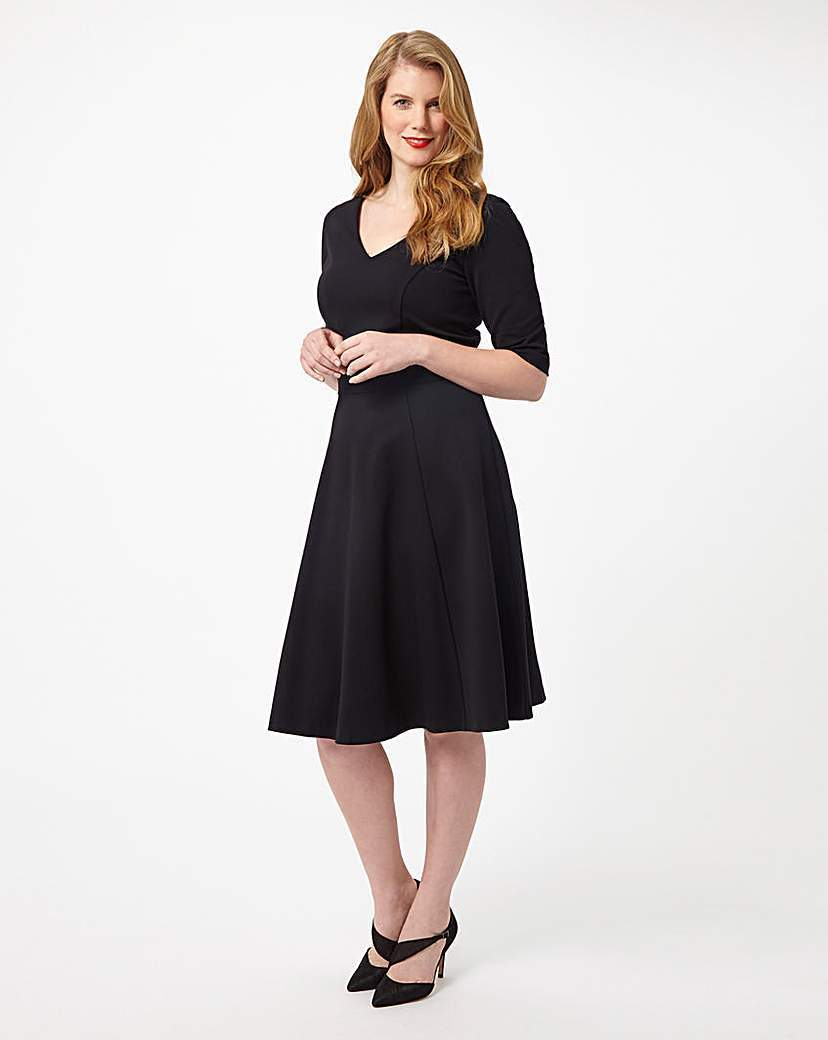 By Phase Eight Minetta Dress - length: below the knee; neckline: v-neck; pattern: plain; predominant colour: black; occasions: evening; fit: fitted at waist & bust; style: fit & flare; fibres: viscose/rayon - stretch; sleeve length: half sleeve; sleeve style: standard; pattern type: fabric; texture group: jersey - stretchy/drapey; season: s/s 2016; wardrobe: event