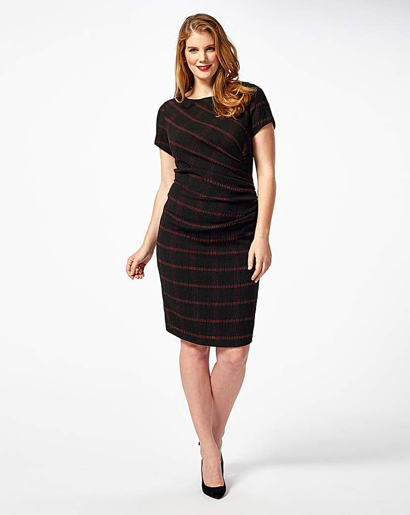 By Phase Eight Taylor Dress - style: shift; pattern: horizontal stripes; predominant colour: black; occasions: evening; length: on the knee; fit: body skimming; fibres: polyester/polyamide - stretch; neckline: crew; sleeve length: short sleeve; sleeve style: standard; pattern type: fabric; texture group: jersey - stretchy/drapey; season: s/s 2016