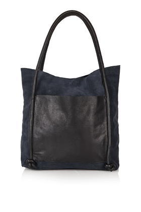 Leather Knot Shopper - predominant colour: navy; occasions: casual, creative work; type of pattern: standard; style: tote; length: shoulder (tucks under arm); size: standard; material: leather; pattern: plain; finish: plain; season: s/s 2016; wardrobe: investment