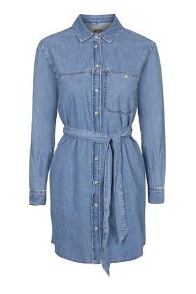 Moto Denim Shirtdress - style: shirt; length: mid thigh; neckline: shirt collar/peter pan/zip with opening; fit: fitted at waist; pattern: plain; predominant colour: denim; occasions: casual; fibres: cotton - stretch; sleeve length: long sleeve; sleeve style: standard; texture group: denim; pattern type: fabric; season: s/s 2016; wardrobe: basic