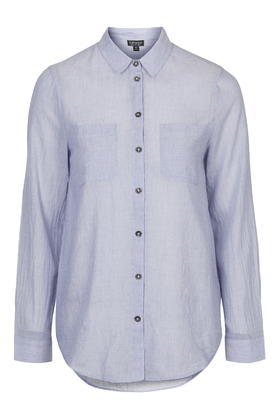 Light Chambray Billie Shirt - neckline: shirt collar/peter pan/zip with opening; pattern: plain; length: below the bottom; style: shirt; predominant colour: pale blue; occasions: casual, creative work; fibres: cotton - 100%; fit: body skimming; sleeve length: long sleeve; sleeve style: standard; texture group: cotton feel fabrics; pattern type: fabric; season: s/s 2016; wardrobe: highlight