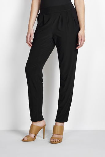 Black Tapered Trouser - pattern: plain; waist detail: elasticated waist; style: peg leg; waist: mid/regular rise; predominant colour: black; occasions: casual, creative work; length: ankle length; fibres: polyester/polyamide - stretch; hip detail: subtle/flattering hip detail; fit: tapered; pattern type: fabric; texture group: jersey - stretchy/drapey; season: s/s 2016; wardrobe: basic