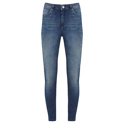 Everett Skinny Jeans, Blue - style: skinny leg; length: standard; pattern: plain; waist: high rise; pocket detail: traditional 5 pocket; predominant colour: denim; occasions: casual; fibres: cotton - stretch; jeans detail: shading down centre of thigh; texture group: denim; pattern type: fabric; season: s/s 2016; wardrobe: basic