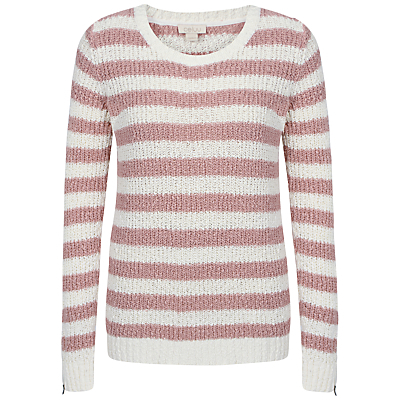 Bethan Stripe Jumper - pattern: horizontal stripes; style: standard; secondary colour: white; predominant colour: pink; occasions: casual, creative work; length: standard; fibres: cotton - 100%; fit: standard fit; neckline: crew; sleeve length: long sleeve; sleeve style: standard; texture group: knits/crochet; pattern type: knitted - fine stitch; pattern size: light/subtle; season: s/s 2016; wardrobe: highlight
