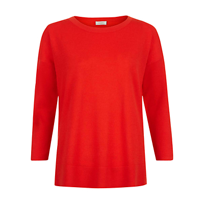 Jessica Jumper, Mandarin Orange - pattern: plain; style: standard; predominant colour: true red; occasions: casual, creative work; length: standard; fibres: wool - 100%; fit: standard fit; neckline: crew; sleeve length: 3/4 length; sleeve style: standard; texture group: knits/crochet; pattern type: knitted - fine stitch; season: s/s 2016