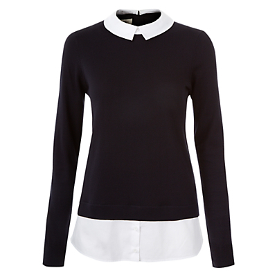 Millie Jumper, Navy White - neckline: shirt collar/peter pan/zip with opening; pattern: plain; length: below the bottom; style: standard; secondary colour: white; predominant colour: black; occasions: casual, creative work; fibres: cotton - mix; fit: slim fit; sleeve length: long sleeve; sleeve style: standard; texture group: knits/crochet; pattern type: knitted - fine stitch; season: s/s 2016