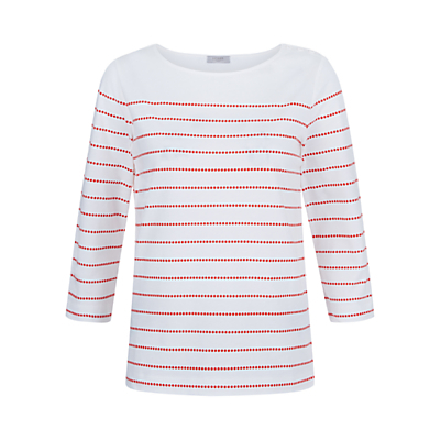 Spot Stripe T Shirt, Orange Ivory - neckline: round neck; pattern: striped; style: t-shirt; secondary colour: white; predominant colour: bright orange; occasions: casual, creative work; length: standard; fibres: cotton - 100%; fit: body skimming; sleeve length: 3/4 length; sleeve style: standard; texture group: cotton feel fabrics; pattern type: fabric; pattern size: light/subtle; multicoloured: multicoloured; season: s/s 2016; wardrobe: highlight