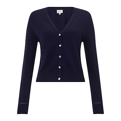Cropped V Neck Cardigan, Ink - neckline: low v-neck; pattern: plain; length: cropped; predominant colour: navy; occasions: casual, creative work; style: standard; fibres: cotton - 100%; fit: slim fit; sleeve length: long sleeve; sleeve style: standard; texture group: cotton feel fabrics; pattern type: fabric; season: s/s 2016; wardrobe: highlight
