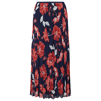 English Rose Pleat Skirt, Ink - length: calf length; fit: loose/voluminous; waist: mid/regular rise; secondary colour: true red; predominant colour: navy; occasions: casual; style: a-line; fibres: polyester/polyamide - 100%; texture group: sheer fabrics/chiffon/organza etc.; pattern type: fabric; pattern: florals; pattern size: big & busy (bottom); multicoloured: multicoloured; season: s/s 2016; wardrobe: highlight