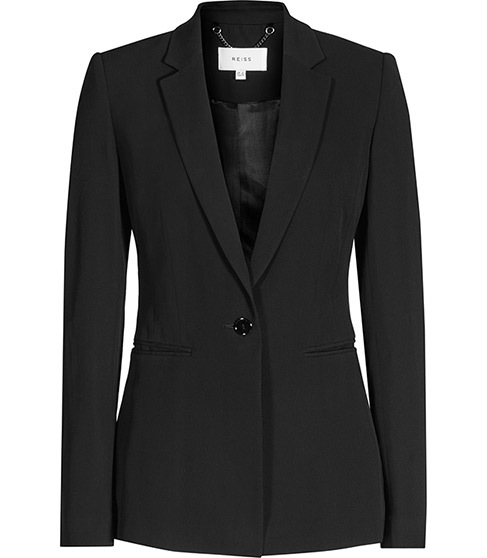 Karmine Jacket Single Breasted Blazer - pattern: plain; style: single breasted blazer; collar: standard lapel/rever collar; predominant colour: black; occasions: work; length: standard; fit: tailored/fitted; fibres: viscose/rayon - stretch; sleeve length: long sleeve; sleeve style: standard; collar break: medium; pattern type: fabric; texture group: woven light midweight; season: s/s 2016; wardrobe: investment